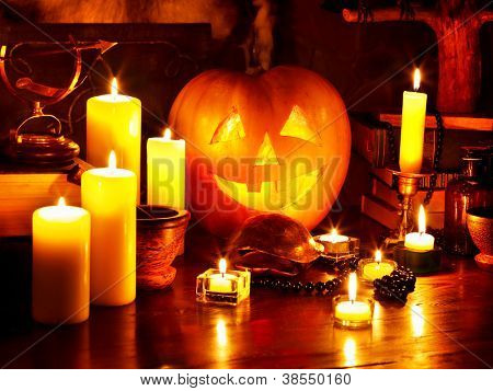 Halloween pumpkin lantern. Decoration.