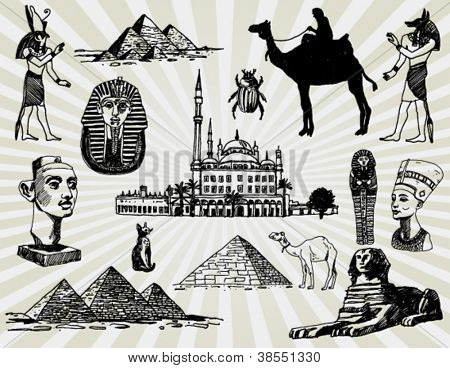 Egyptian Set Hand Drawn