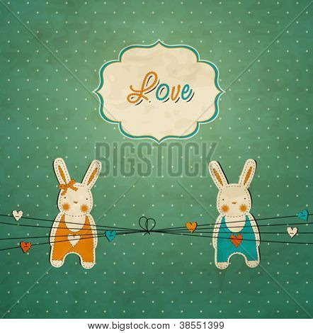Romantic vintage card with rabbits