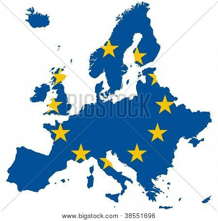 Europe Map (European Union Flag)