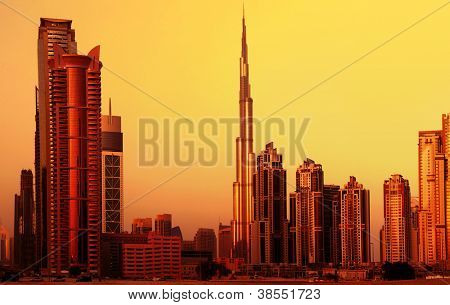 DUBAI, UAE - SEPTEMBER 23: Burj Khalifa, world's tallest tower at 828m, located at Downtown, Burj Khalifa at sunset September 23, 2012 in Dubai, United Arab Emirates