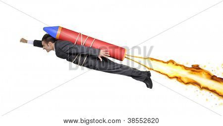 Successful businessman flying on a rocket.
