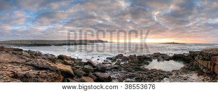 Panorama of Atlantic ocean in Doolin at sunset