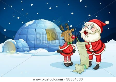 llustration of santa claus and reindeer in night
