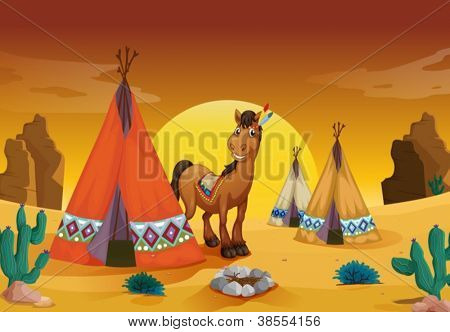 illustration of horse and tent house in a desert