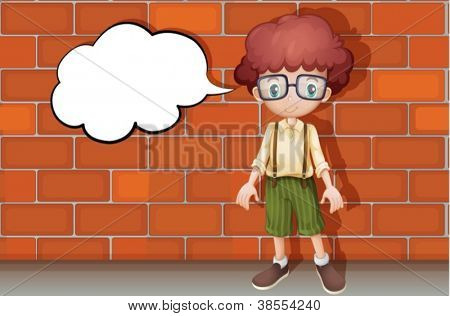 illustration of a boy standing in front of wall