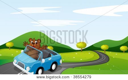 illustration of a bear and a car in a beautiful nature