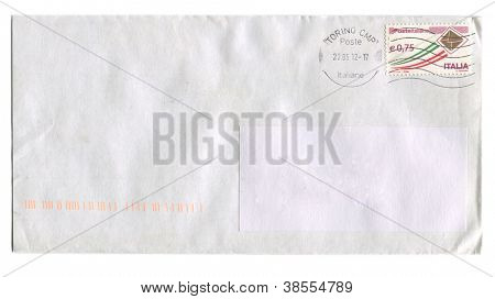 ITALY - CIRCA 2012: Mailing envelope with postage stamps dedicated to Italian Post, circa 2012.
