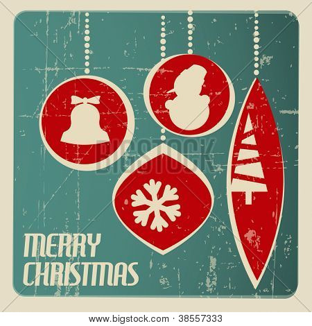 Retro Christmas card with christmas decorations - teal and red