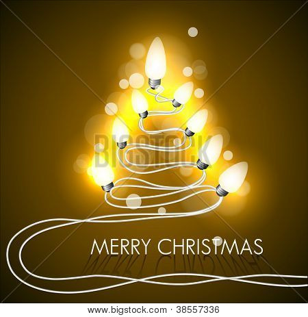 Vector golden background with christmas tree and lights