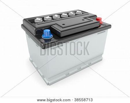 Car battery on white background. Three-dimensional image.