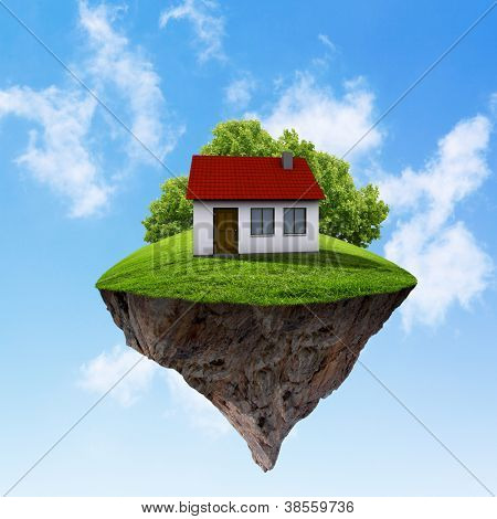 Little fine island / planet. A piece of land in the air. Lawn with house and tree. Pathway in the grass. Detailed ground in the base. Concept of success and happiness, idyllic ecological lifestyle