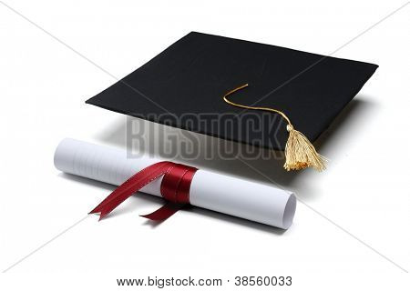 diploma and graduation cap isolated on white background