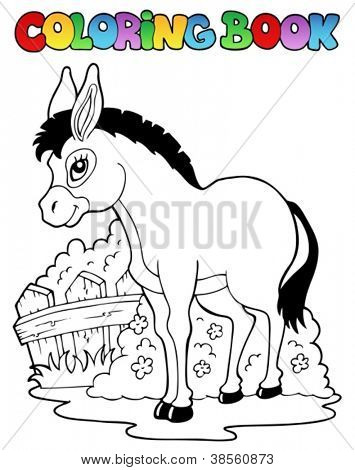 Coloring book donkey theme 1 - vector illustration.