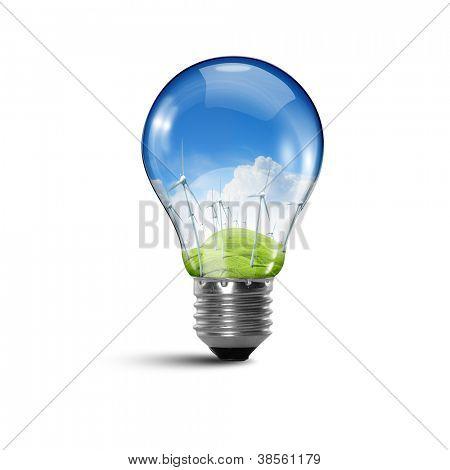 Ilustração de uma lâmpada elétrica com natureza limpa e segura no seu interior ilustração conceitual