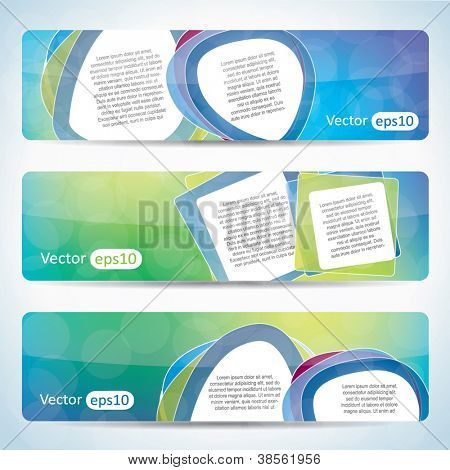 Website banner set with speech balloons and colorful background