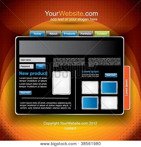 Modern dark vector website template with dark orange background