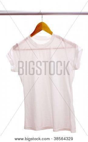 White t-shirt on hanger isolated on white