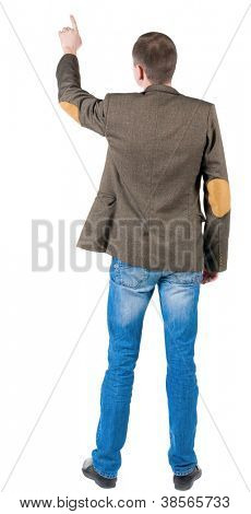 Back view of pointing business man  . gesticulating young guy suit jacket with patches on the sleeves. Rear view people collection.  backside view of person.  Isolated over white background.
