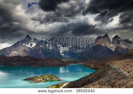 Torres del Paine National Park, Lake Pehoe and Cuernos mountains, Patagonia, Chile