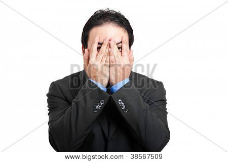 Scared businessman portrait
