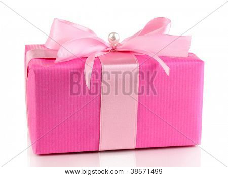 Colorful pink gift with bow isolated on white
