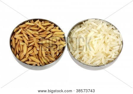 Bowls of Unhusked Asian rice with Chaff next to Polished white rice