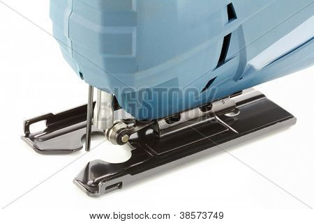 Closeup Photo of Professional Electric Jig Saw on white background