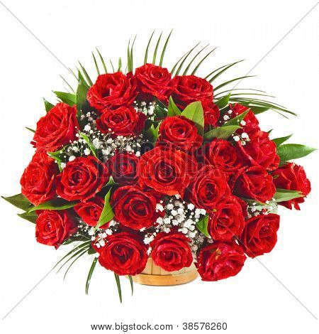 Red roses bouquet isolated on the white background
