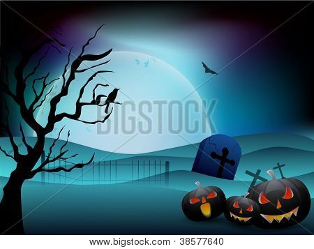 Scary Halloween full moon night background with scary pumpkins, dead tree. EPS 10.