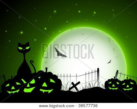 Scary Halloween full moonlight night background with pumpkins, flying bats and black cat. EPS 10.