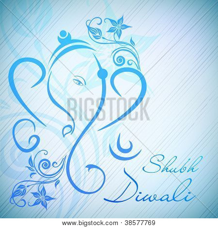 Creative illustration of Hindu Lord Ganesha on floral background. EPS 10.