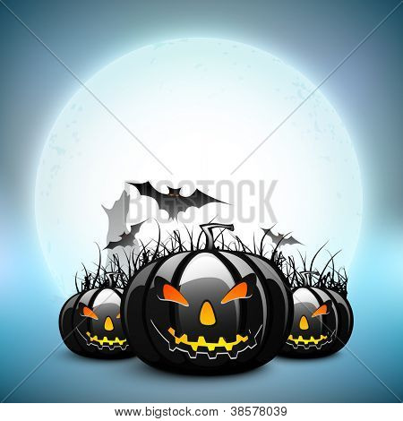 Scary pumpkins with flying bats on Halloween full moon night background. EPS 10.