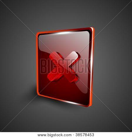 Glossy red 3D web 2.0 cross mark validation symbol icon set. EPS 10.