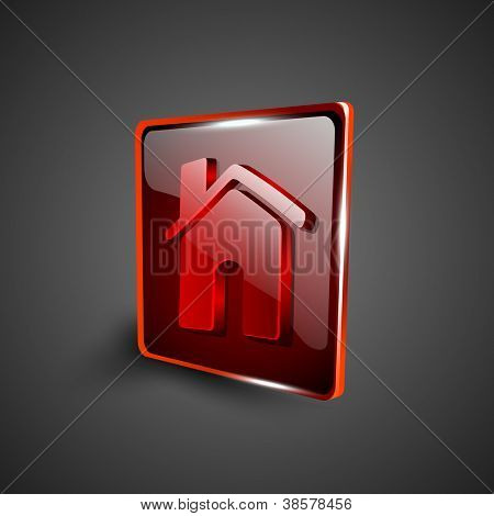 Glossy red 3D web 2.0 home or homepage symbol icon set. EPS 10.