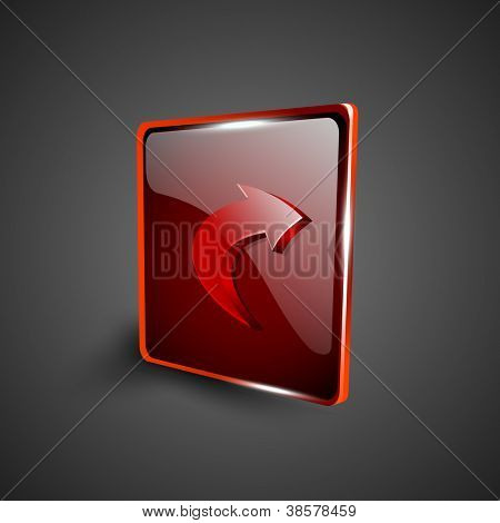 Glossy red 3D web 2.0 right arrow symbol icon set. EPS 10.