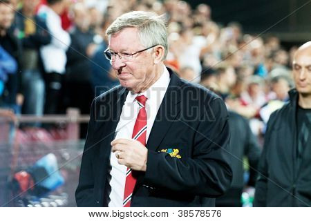 CLUJ-NAPOCA, ROMANIA - OCTOBER 2: Sir Alex Ferguson in UEFA Champions League match between CFR 1907 Cluj and Manchester United, Dr. C. Radulescu Stadium on 2 Oct., 2012 in Cluj-Napoca, Romania