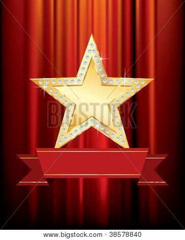 vector golden star with blank banner on red curtain
