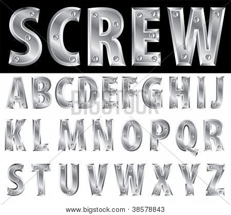 metal alphabet with screws