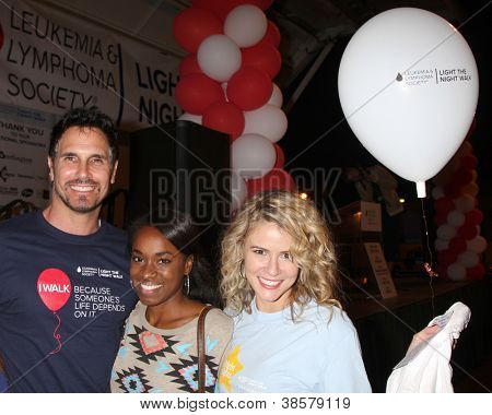 LOS ANGELES - OCT 6:  Don Diamont, Kristolyn Lloyd, Linsey Godfrey attend the Light The Night Walk at Sunset Gower Studios on October 6, 2012 in Los Angeles, CA