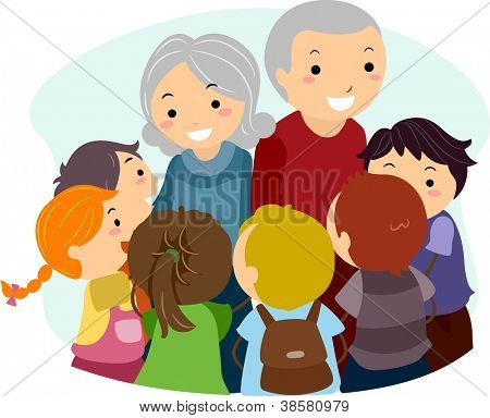 Illustration of Kids Gathered Around an Elderly Woman and an Elderly Man