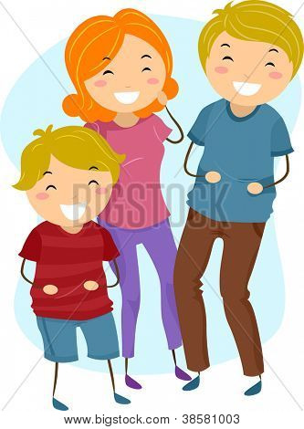 Illustration of a Family Laughing Heartily