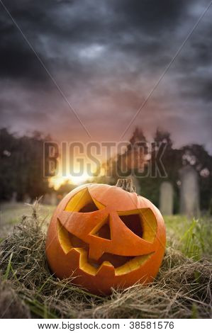 On Hallows Eve - Jack-O-Lantern on Halloween evening