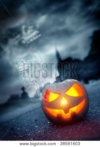 Halloween Background, Jack - O - Lantern in a spooky graveyard.