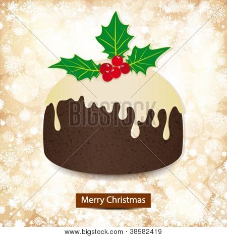 Christmas background with golden lights and pudding.