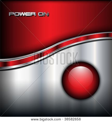 Abstract shiny background with red glossy alarm button, vector.