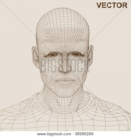 Vector eps concept or conceptual 3D wireframe human male or man head isolated on beige background as metaphor for technology,cyborg,digital,virtual,avatar,science,fiction, future,mesh,vintage abstract