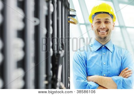 Engineer in server room