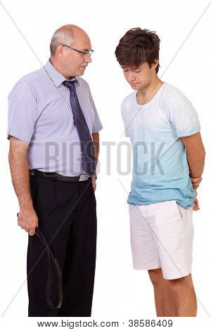 Strict father with belt punishes his young son, isolated on white background