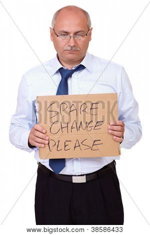 Depressed senior businessman holding a cardboard and asking about money, isolated on white background